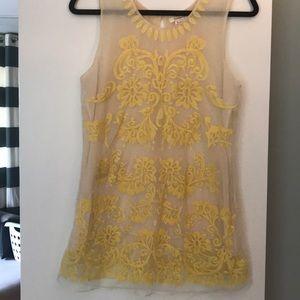 Sundance yellow and ecru embroidered lace tank.
